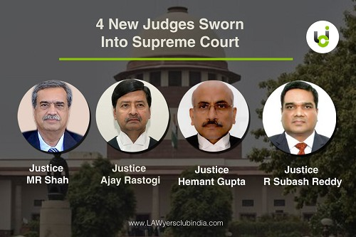 Image result for Justices Hemant Gupta, R Subhash Reddy, MR Shah and Ajay Rastogi sworn-in as Supreme Court Judges